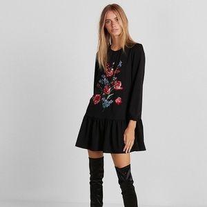 Express embroidered drop waist long sleeve dress S